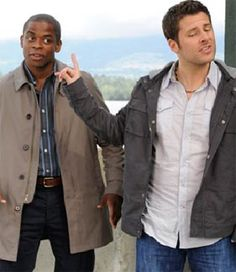 """Shawn: """"Age before beauty!"""" / Gus: """"You're four months older than me, Shawn!"""" / Shawn: """"Since when?"""" / Gus: """"Since birth!"""" LOVE THIS SHOW Psych Memes, Psych Tv, Psych Quotes, Funny Memes, Hilarious, Jokes, Best Tv Shows, Favorite Tv Shows, Shawn And Gus"""