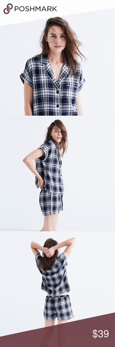 madewell bedtime pajama top in moore plaid NWT, True to size. Cotton. Machine wash. COLOR: combo ink A lightweight pajama top in timeless double-faced plaid (it's printed inside and out). This one's particularly smile-inducing when paired with the matching pajama shorts. Madewell Tops