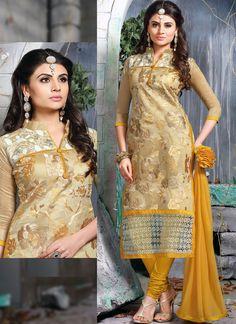 Beige Chanderi Party Wear Embroidered Work Churidar Suit - Luxefashion Internet Inc