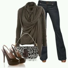 Polyvore outfit, jeans, black sling back heels, sweater and black and white print purse.