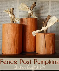 Fence Post Pumpkins- Turn an old round fence post into a trio of adorable #pumpkins with 2 personalities.  Carved faces on one side for halloween, plain painted side for fall season! /v