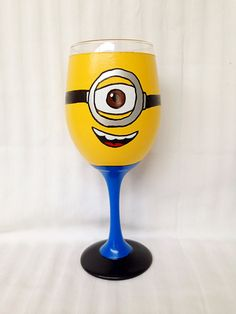 Minion from Despicable Me inspired Hand Painted Wine Glass.