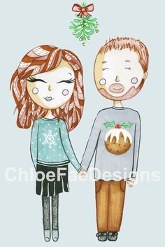 Christmas Couple Illustrated Portrait Digital by ChloeFaeDesigns