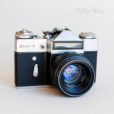 Vintage 1970s ZENIT-E 35mm Film SLR Camera + Helios 44-2 Lens & Case by UpStagedVintage on Etsy