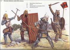 A print from the 1992 book, 'Achaemenid Persian Army', by artist Richard Scollins. It shows a variety of foes that the Greek forces would have met during the Greco-Persian wars.