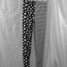 NWOT Black And White Stars And Stripes Leggings This is a cute pair of leggings that are black and white, have stars all over one side and stripes on the other.  These are brand new, only taken out of the package to take pictures!  These say one size, but best for xs-medium. #leggings #blackandwhite #starsandstripes #onesize #new Pants Leggings