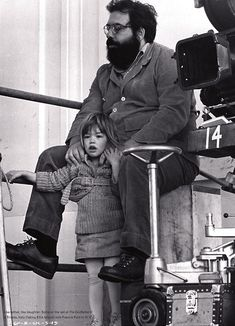 Francis Ford Coppola and Sofia Coppola on the set of 'The Godfather: Part II' (1974)