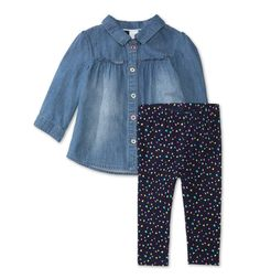 Frontimage view Baby-outfit in jeansblauw