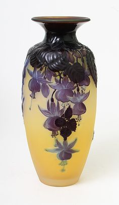 Amazing Galle fuchsia flower blownout glass vase in purple and yellow #vintage #antique