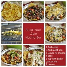Chili Con Queso Dip and Build Your Own Nacho Bar is the perfect addition to your next football watching party! Nacho Bar, Super Bowl Party, Chrismas Party Food, Mexican Food Recipes, Ethnic Recipes, Appetizer Recipes, Party Recipes, Appetizers, Football Food