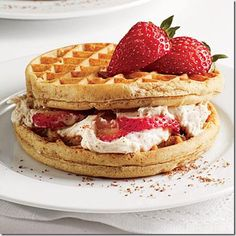Strawberry Cream Cheese Waffle Sandwiches - #Yummy