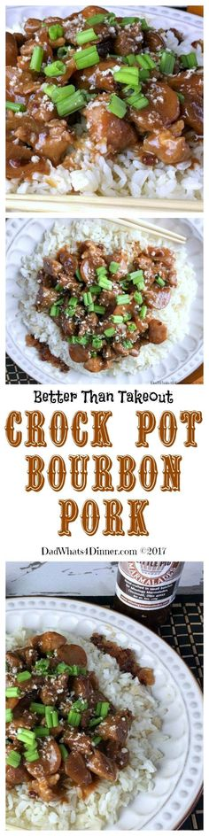 When you are tired of takeout, this recipe for Crock Pot Bourbon Pork will hit the spot. Easy, economical and perfect for a weeknight family meal. Healthy Slow Cooker, Crock Pot Slow Cooker, Crock Pot Cooking, Pressure Cooker Recipes, Cooking Ware, Pork Chop Recipes, Crockpot Recipes, Cooking Recipes, Crockpot Dishes