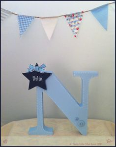 Freestanding letter available from www.facebook.com/prettylittlewhatknots