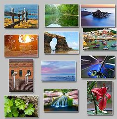 thumbnails of the puzzles Chimneys,wet flower,Calm,Small flowers,Mirror lake,Speed,Small waterfall,Sculpted by the sea,Fisher town,Seagull in a fence,Golden scene,Fishers