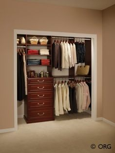Small closet layout. I like the shelf for bottles and items above dresser...Need a mirror in there, too.