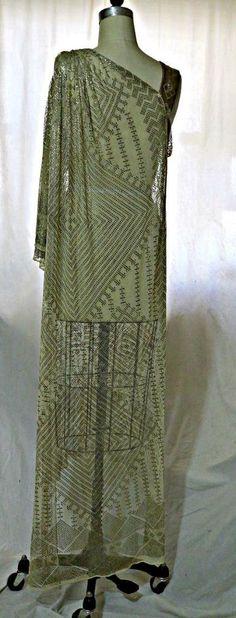 1920s Assuit evening dress, gold metallic, Art Deco, Egyptomania. Back