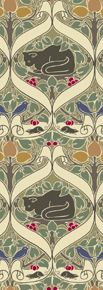 """{CFA Voysey c 1898 via Trustworth}   This highly structured cat lover's pattern depicts a lovely cat sedately surveying its prey of birds and rats. """"I Love Little Pussy"""" is named for the famous nursery rhyme and may well have been intended for a child's room. However, it is well suited to any chamber where ordered repeating pattern in muted earth tones is desired."""