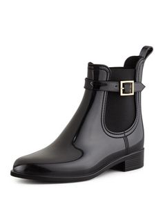 I REALLY WANT THESE BOOTS!!!! Jai PVC Short Rain Boot, Black by Jimmy Choo at Neiman Marcus.