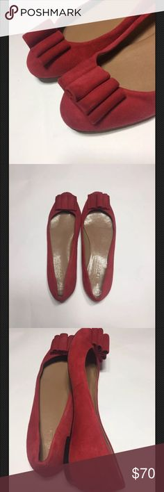 """Talbots Red Leather Bow Ballerina Flats SZ 7.5 EUC Talbots SZ 7.5 M Suede leather ballerina flat. Red. Gathered bow on toe of shoe. Small heel less than 1"""". Small smudge on left bow and left heel. Minimal wear on outersoles of shoes. EUC. Classic and forever femme! Talbots Shoes Flats & Loafers"""