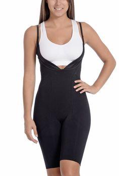 Seamless Black Underbust Thigh Coverage Bodysuit | My Luxury Intimates Current Fashion Trends, Outfit Sets, Thighs, Athletic Tank Tops, Bodysuit, Shoulder Straps, Bra, How To Wear, Clothes