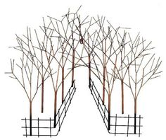 """CONTEMPORARY 'PERSPECTIVE WALK IN WOODS' METAL WALL ART Ref: WD758  Contemporary design metal wall art sculpture. Size is a very large 90cm wide and 70cm high (36x26""""), and this is a fabulous tree scene going into the perspective of the woods, and finished in a rustic antique gold colour. The wall art is flat to the wall but the design really does draw you into it!!"""