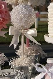 Pearl Ball Topiary Centerpiece;  All white pearls, pot, ribbon