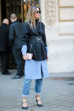 Pinning for the shoes!!! How to Pull Off the Tricky Dress-Over-Jeans Trend