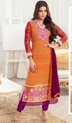 Set temperatures soaring dressed in this orange and violet shade georgette churidar suit. Look ravishing clad in this attire that is enhanced lace, patch and resham work.  #NewDesignCasualDresses