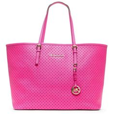 MICHAEL MICHAEL KORS Jet Set Perforated Leather Travel Tote Bag found on Polyvore