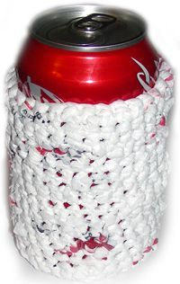Plarn (plastic yarn) Can Cozy. Cool idea to upcycle all those plastic grocery bags