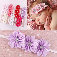 $5.86 7pcs-Kids-Baby-Girl-Rhinestone-3-Flowers-Headband-Headwear-Hair-Band-Accessories
