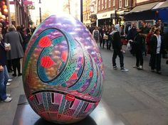 Beautiful! One of the eggs from the Big Egg Hunt happening across London (We made the stands for all the eggs! www.piggotts.co.uk)