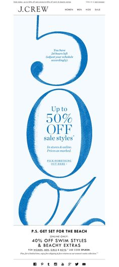 #newsletter J.Crew 06.2014 Um. This is major. Up to 50% off...