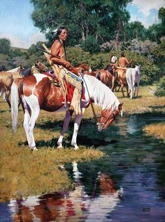 Many years before Christopher Columbus actually stumbled upon the Americas there actually were people living in North America. Read more a Brief Glimpse of Native American History http://bit.ly/14XXcUD [Artwork by David Mann] Native American Tribes, Native American History, Native Americans, Native American Models, Native American Warrior, Native American Pictures, American Indian Art, American Indians, American Symbols