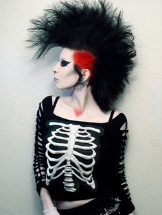 Awesome #mohawk and LOVE that skeleton top