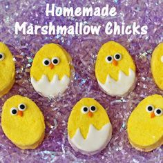 Crack open this egg and watch these Homemade Marshmallow Easter Chicks hatch! This easy recipe is the perfect party craft for your kids and family. They also serve as great Easter Basket treats, and these homemade treats can't compare to the store bought ones!