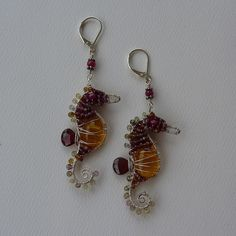 Colorful Gemstone Seahorse Earrings by pippijewelry, via Flickr