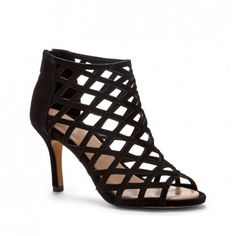 Women's Black Suede 3 1/4 Inch Caged Mid Heel | Portia by Sole Society