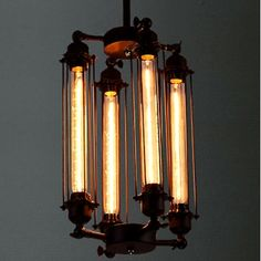 Vintage Industrial Cube Cage Steampunk Pendant Light - Beautifulhalo.com