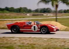 Lloyd Ruby (driving) and Ken Miles drove this Shelby American Ford X-1 to a win in the 1966 Sebring race.