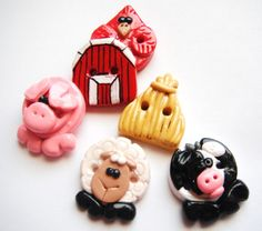 Button Tiny Farm Life handmade polymer clay by digitsdesigns, $8.50