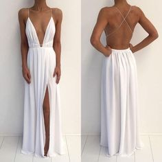 Ball Gown Prom Dress, Sexy Deep V-Neck Spaghetti White Chiffon Side Slit Long Prom Dresses Shop Short, long ball gowns, Prom ballroom dresses & ball skirts Pretty ball gowns, puffy formal ball dresses & gown Split Prom Dresses, Backless Prom Dresses, Sexy Dresses, Beautiful Dresses, Bridesmaid Dresses, White Ball Dresses, Backless Gown, Open Back Dresses, Formal Evening Dresses