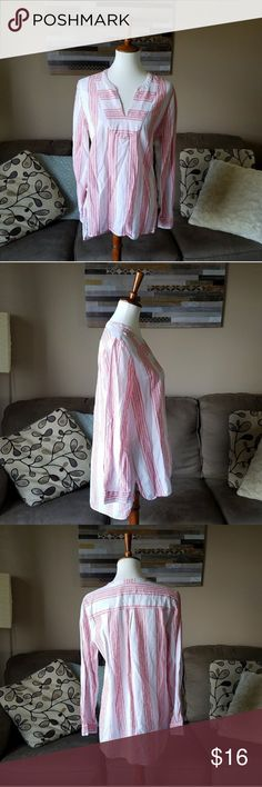 Old Navy Red & White Linen Tunic Gently used . Non stretch . Care tag cut out .  #092904 Old Navy Tops Tunics