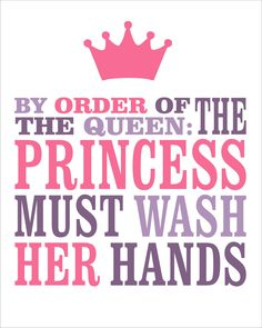 All pink and purples for the bath-8x10 Kids Wall Art Typography. $12.00, via Etsy.