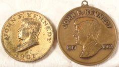 1963 John F Kennedy Set 2 Gold Plated Medals Lot  Pendant Former President US