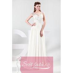 Společenské šaty s průhledným živůtkem bílé