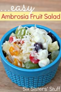 Six Sisters Easy Ambrosia Fruit Salad is a nice summer salad that can be made in minutes!