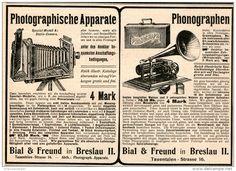 Original-Werbung/Inserat/ Anzeige 1902  : PHONOGRAPHEN/PHOTOGRAPHISCHE APPARATE / BIAL & FREUND BRESLAU ca. 190 x 130 mm