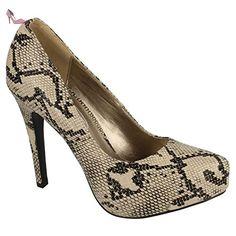 Spot On - Escarpin à plateforme - Femme (38 EU) (Taupe) - Chaussures spot on (*Partner-Link)