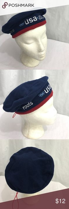 2002 Winter Olympics Roots Fleece Beret EUC. One size fits most. Navy blue retro Beret from the 2002 Winter Olympics. Adjusts in the back roots Accessories Hats
